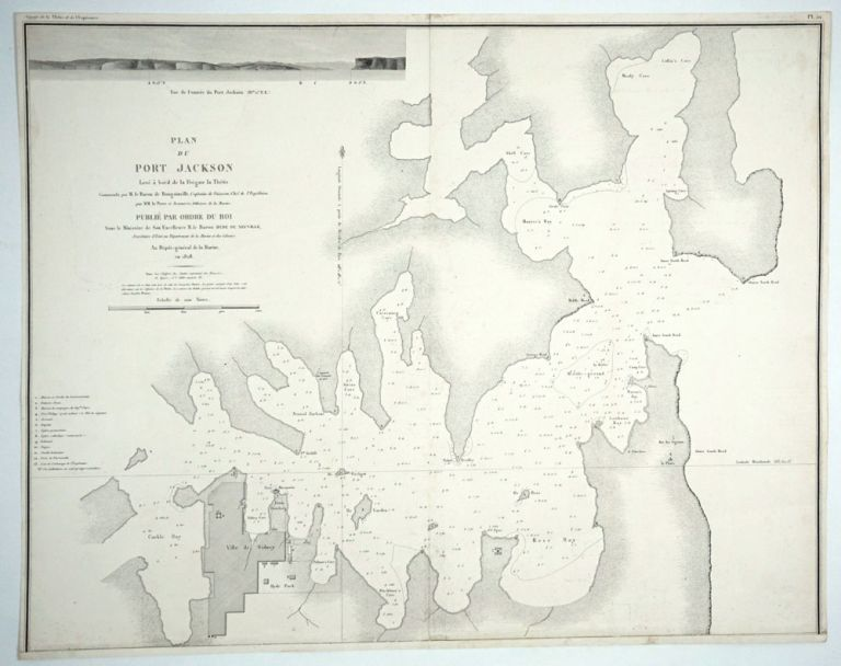 Plan du Port Jackson Levé à bord de la Frégate la Thétis commandé par M. Le Baron de Bougainville, Capitaine de Vaisseau, Chef de l'Expedition / par MM. La Pierre et Jeanneret, Officiers de la Marine. Publié par Ordre du Roi, Au Depôt-general de la Marine, en 1828. Map. Bougainville, NSW Sydney.