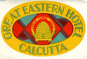 Baggage Label from Great Eastern Hotel, Calcutta.