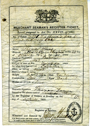 Merchant Seaman's Register Ticket, September 17, 1853 for Thomas Young, mate. India Bombay.