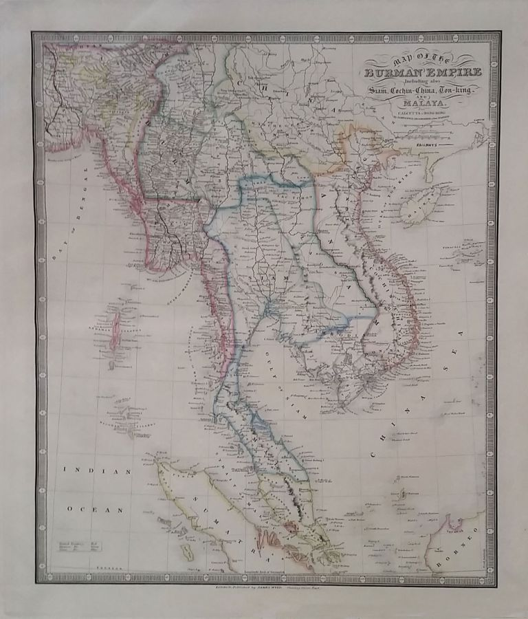 Map of the Burman Empire Including also Siam, Cochin-China, Ton-king and Malay From Calcutta to Hong-Kong. James Wyld, Geographer to her Majesty.