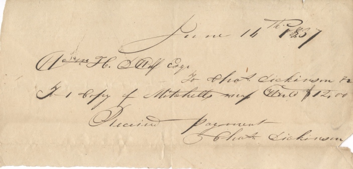 Receipt for Mitchell's World map 1837.