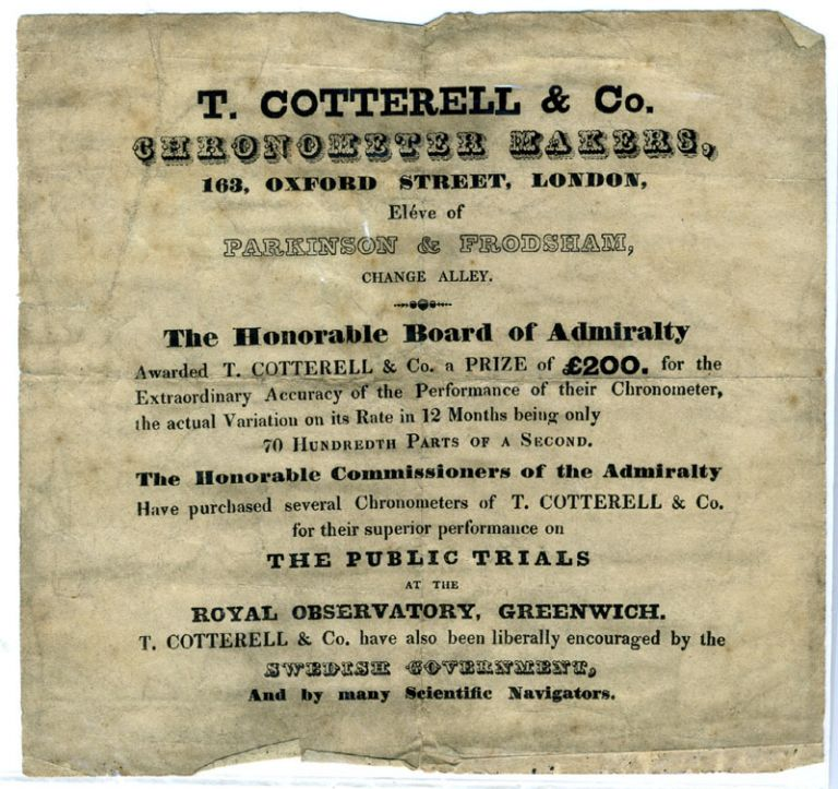 Advertisement for T. Cotterell & Co., Chronometer Makers, announcing an award granted by the Board of Admiralty to Cotterell for its performance at the Public Trials, Royal Observatory, Greenwich.