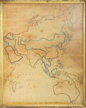 Asia Drawn by Electa Curtis. Pen & ink map of Asia drawn by NY state student. Maps.