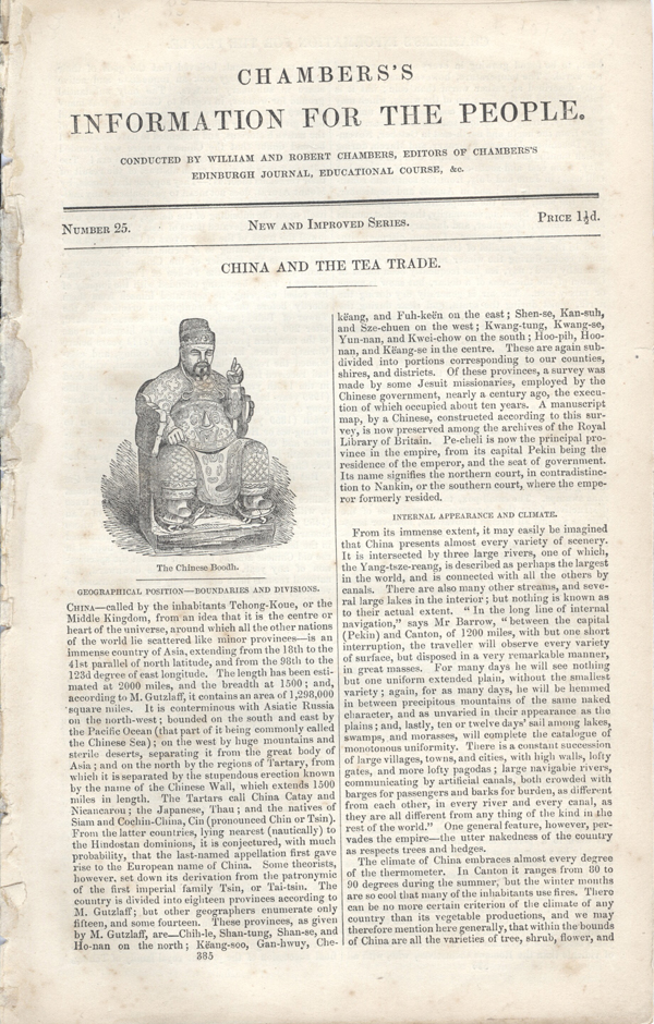 Chambers's Information for the People, Number 25, China and the Tea Trade. China, William and Robert Chambers.