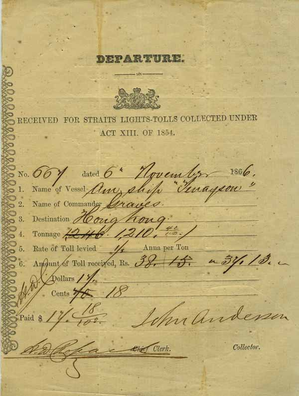 Departure. Received for Straits Lights - Tolls Collected Under Act XIII of 1854. Hong Kong.