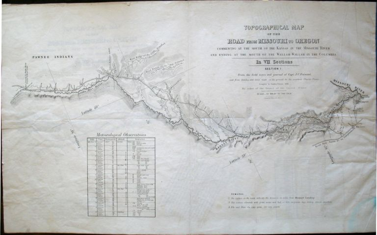 Topographical map of the road from Missouri to Oregon, commencing at the mouth of the Kansas in the Missouri River and ending at the mouth of the Wallah Wallah in the Columbia, in VII sections : from the field notes and journal of Capt. J.C. Fremont, and from sketches and notes made on the ground by his assistant Charles Preuss ; compiled by Charles Preuss, 1846, by order of the Senate of the United States. Charles Preuss.