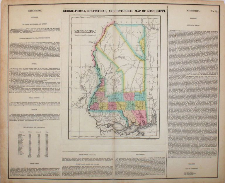Geographical, Statistical, and Historical Map of Mississippi. Mississippi, Henry Carey, Isaac Lea.