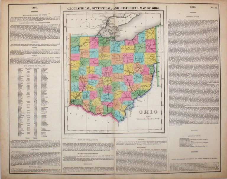 Geographical, Statistical, and Historical Map of Ohio. Ohio, Henry Carey, Isaac Lea.