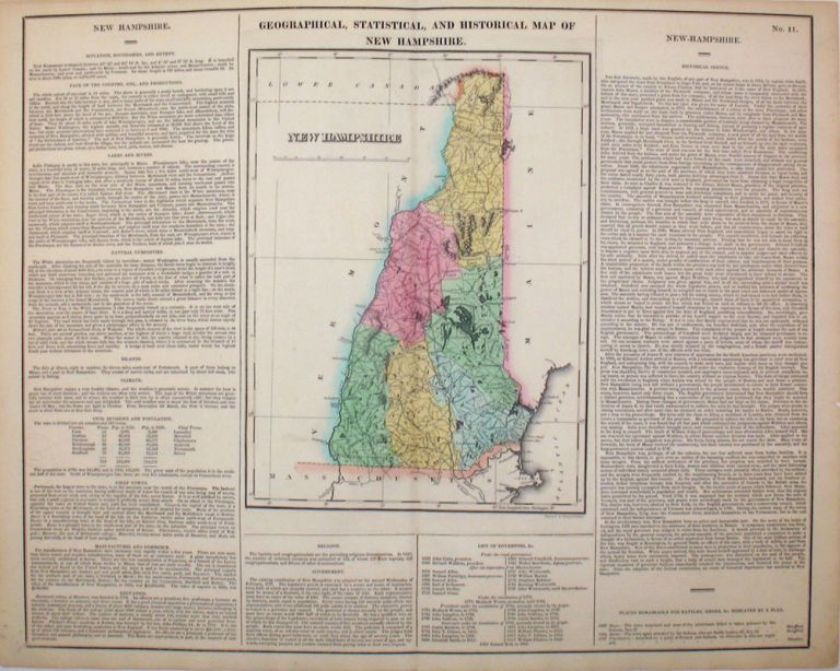 Geographical, Statistical, and Historical Map of New Hampshire. New Hampshire, Henry Carey, Isaac Lea.