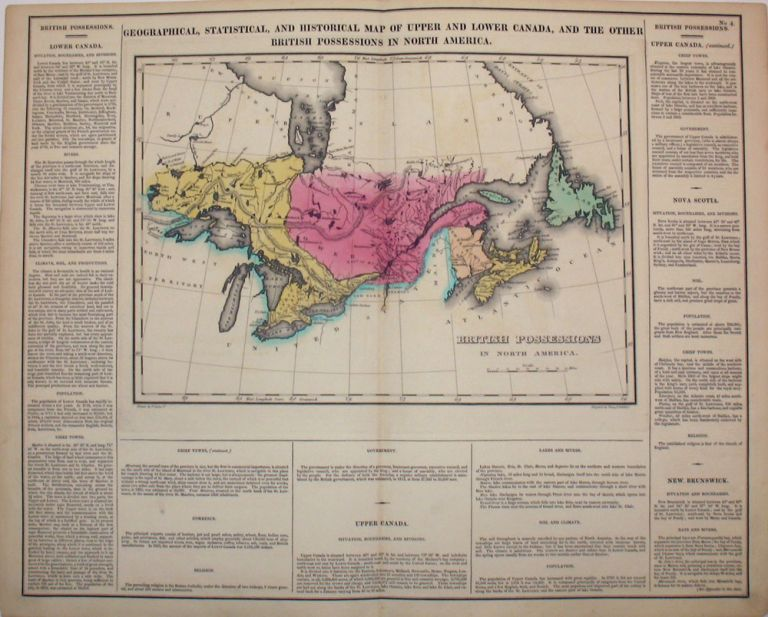 Geographical, Statistical, and Historical Map of Upper and Lower Canada, and the Other British Possessions in North America. Canada, Henry Carey, Isaac Lea.