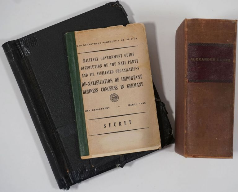 Collection of reports about the De-Nazification of German and other business interests at the end of World War II, by a Special Attorney to the Justice Department (Economic Warfare Section), Alexander Sacks. World War II, Alexander Sacks.