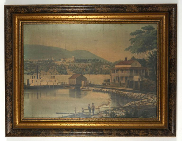 """[View of West Point from Garrison Across the Hudson, showing the old ferry """"West Point""""]. Anonymous, West Point/Garrison."""