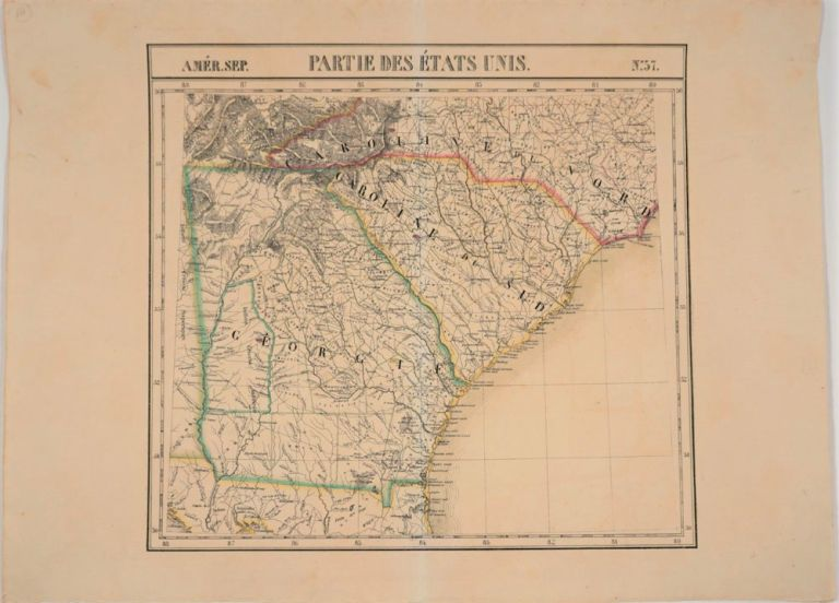 Partie De Etats Unis, Amer. Sep. No. 57 (Georgia, South Carolina, North Carolina & Northern Florida). Philippe Marie Vandermaelen.