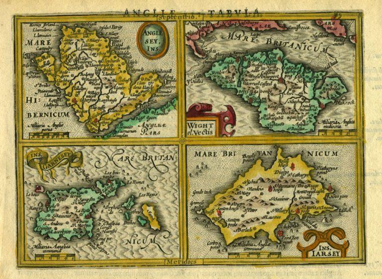 Anglesey Ins. [on sheet with] Wight ol. Vectis [and] Ins. Garnesey [and] Ins. Iarsey, [Britain]. Gerhard Mercator.