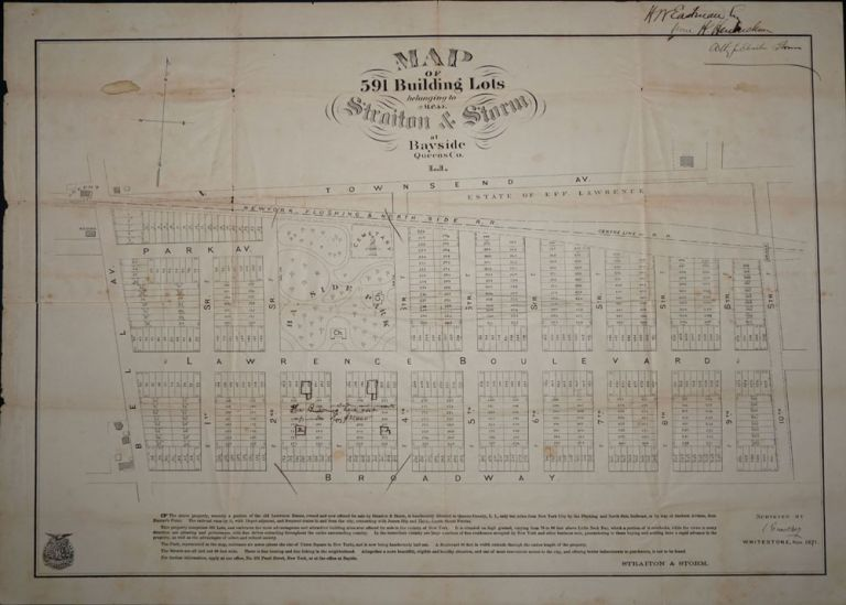 Map of 591 Building Lots belonging to Mess. Straiton & Storm at Bayside Queens Co. L. I. Queens Bayside, Straiton, Storm.