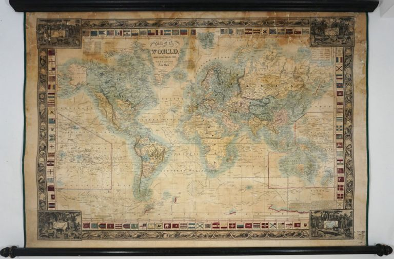 Map of the World on Mercators Projection. New York 1845. Geographical Part engraved by John M. Atwood, NY. T. Ensign, E H.