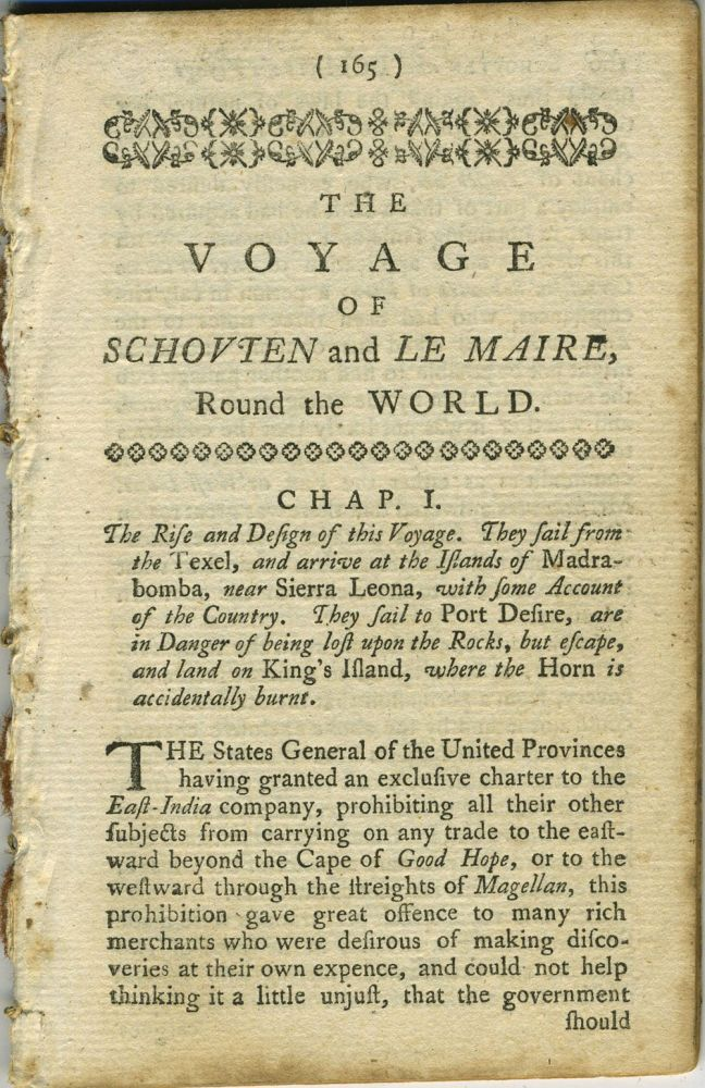 The Voyage of Schouten and Le Maire Round the World; Chapters 1 - 3 from The World Displayed or, a Curious Collection of Voyages and Travels, selected from the Writers of all Nations. Extract, Samuel Johnson, Christopher Smart, Oliver Goldsmith.