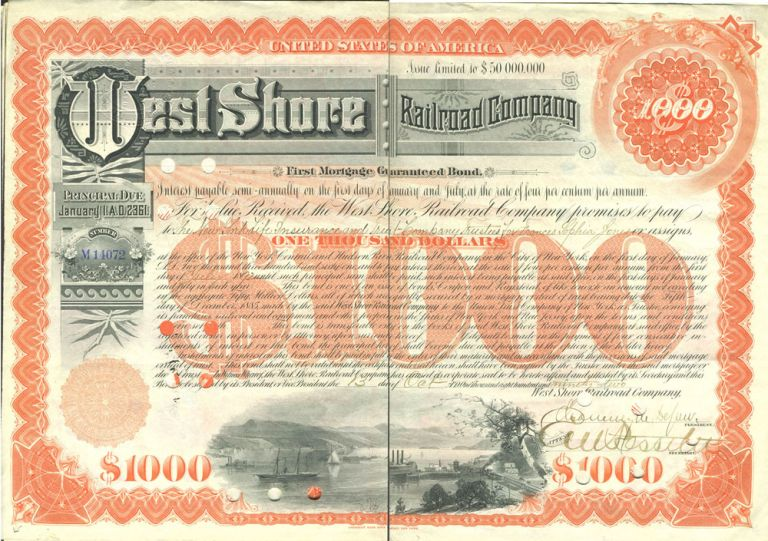 West Shore Railroad Company (Hudson River). First Mortgage Guaranteed Bond, Issued $1,000.00; dated 1892. NY Garrison, West Point, Hudson River.