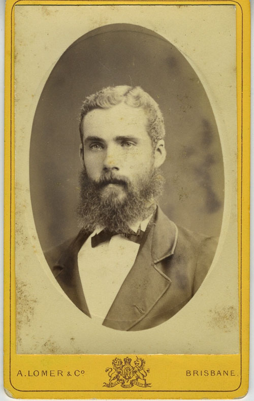 Carte De Visite Of A Handsome Unidentified Young Bearded Brisbane Man Albert Lomer Queensland