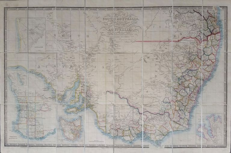 South Australia. Map of South Australia, New South Wales, Van Diemens Land and Settled Parts of Australia, with plans of the City of Sydney, and of the town of Adelaide. James Wyld.