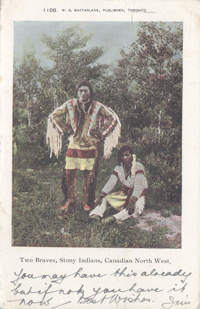 Two Braves, Stony Indians, Canadian North West; printed color postcard. Native American.