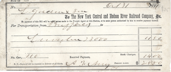 Receipt for transportation charge, New York Central and Hudson River Railroad Company; $25.50. Hudson River Railroad, New York Central.