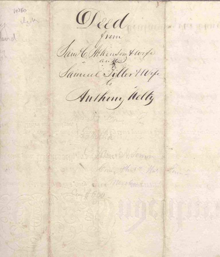 1841 Land Deed for Kentucky parcel signed by Samuel C. Atkinson, co-founder of Saturday Evening Post, to early paper maker Anthony Kelty. Samuel C. Atkinson.