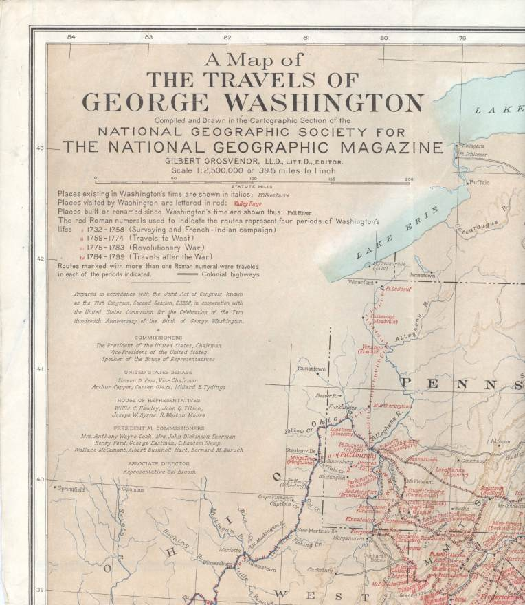 A Map of the Travels of George Washington. Gilbert Hovey Grosvenor.