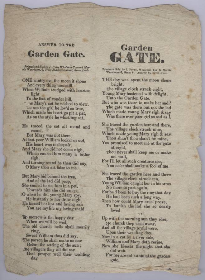Garden Gate and Answer to the Garden Gate (Broadside Ballad).