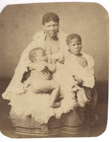 Photograph of Bushwoman and Children, South Africa.