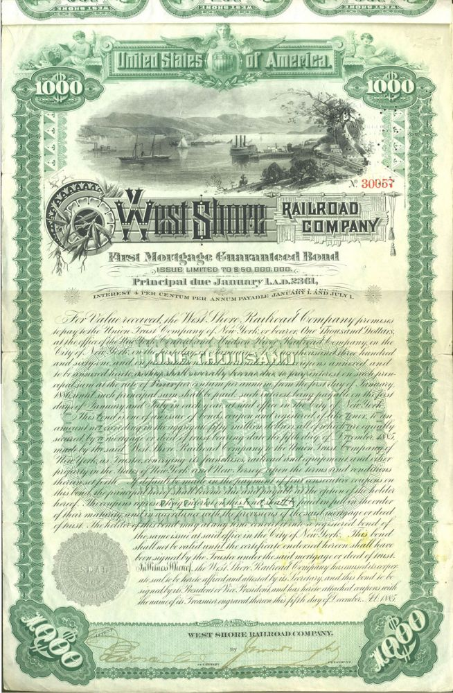 West Shore Railroad Company (Hudson River). First Mortgage Guaranteed Bond, Issued $1,000.00. NY Garrison, West Point, Hudson River.