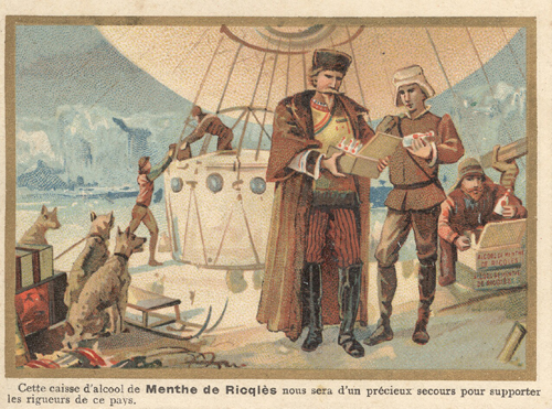 Advertisement for Mente de Ricqles Showing Arctic Explorers.