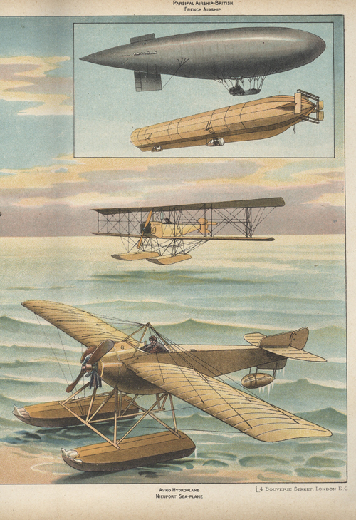 Aeroplanes and Airships Color Poster. Aviation.