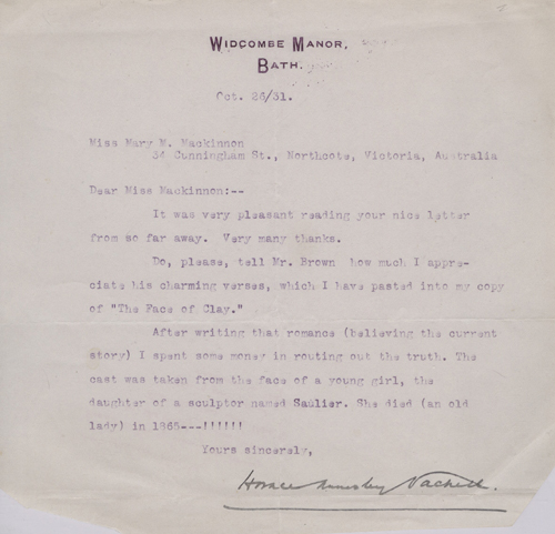 Letter from Horace Vachell Concerning His Novel The Face of Clay and the  Misidentification of a Death Mask by Horace Annesley Vachell on Antipodean