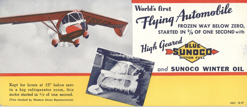 """Advertising Card for Sunoco Fuel and Oil and the Arrowbile, the """"World's First Flying Automobile"""""""