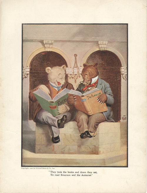 The Roosevelt Bears at a Boston Library (Color Print). V. Floyd Campbell.