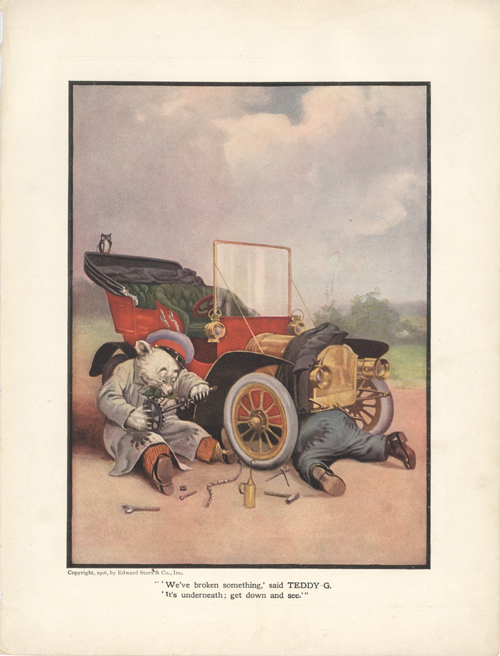 The Roosevelt Bears Take an Automobile Ride (Color Print). V. Floyd Campbell.