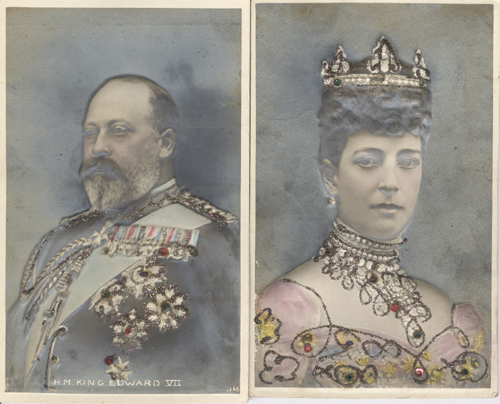 Bas Relief Postcards of British rulers King Edward VII and Queen Alexandra.