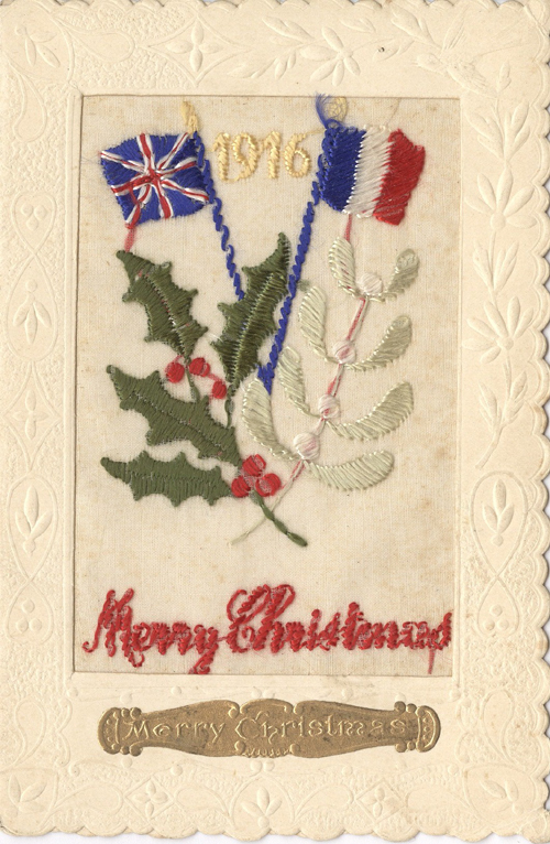 Christmas Card with Embroidery and British and French Flags.