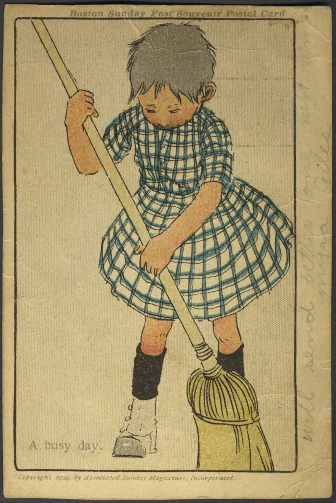 Artist Card: Boston Sunday Post Souvenir Postcard of Girl Sweeping.