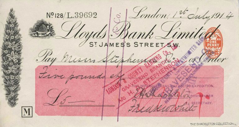 Autographed check from Shackleton fom his Imperial Trans-Antarctic Expedition, signed by Shackleton. Ernest H. Shackleton.