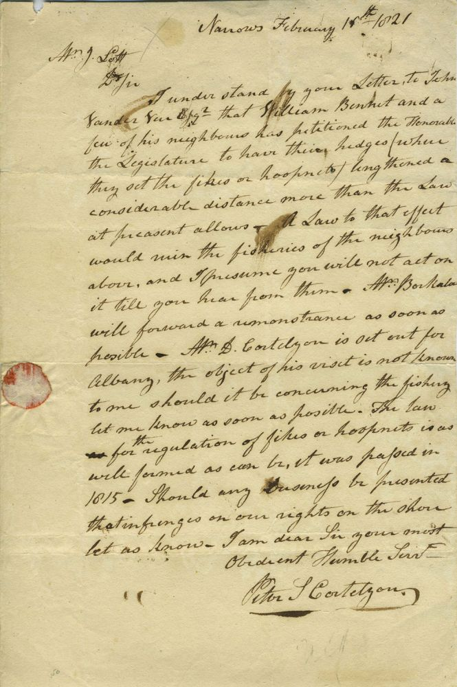 ALS concerning over fishing in the most important New York shad fishery up to that time; signed Peter L Cortelyou, Narrows, February 16th, 1821. New York Brooklyn, Peter Cortelyou.