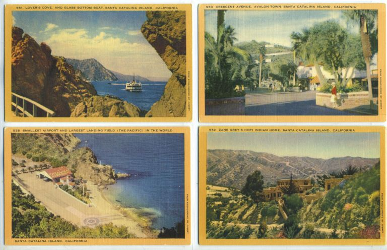 Five Linen Postcards with Scenes from Santa Catalina Island, California.