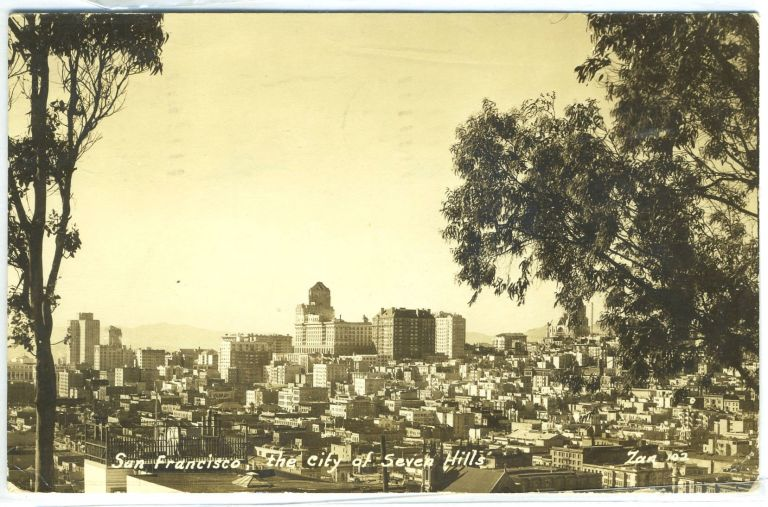 "Real-Photo Postcard of Bird's Eye View of San Francisco, ""The City of Seven Hills,"" California."