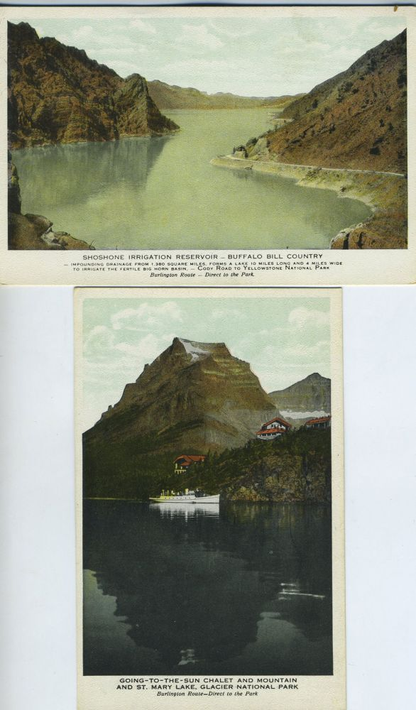 Two Postcards from Burlington Route of Scenes in National Parks.