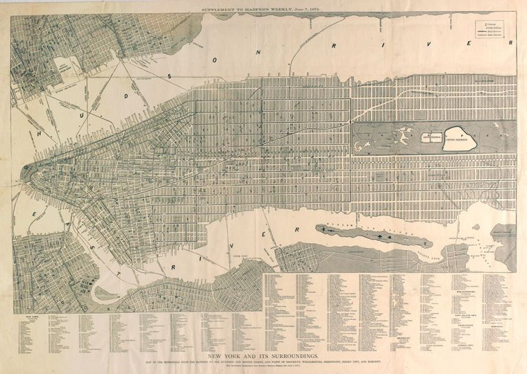 """""""New York and Its Surroundings"""", map of New York from the Supplement to Harper's Weekly, June 7, 1873."""
