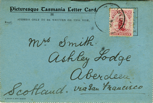 Picturesque Tasmania Letter Card, with five printed Tasmanian views. Tasmania.
