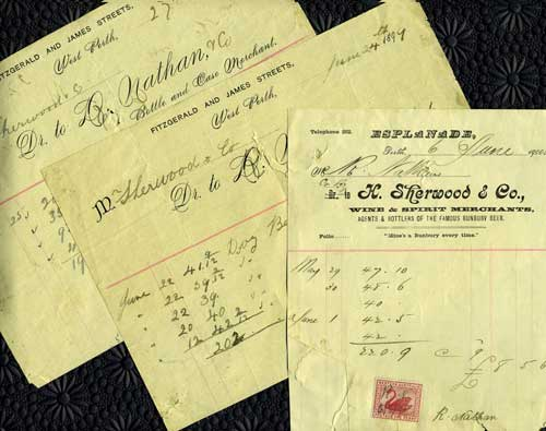 Trade Receipts for wine and beer from Perth, Australia merchants 'H. Sherwood & Co., Wine & Spirit Merchants' and 'D. Nathan & Co., Bottle and Case Merchant'. West Australia.