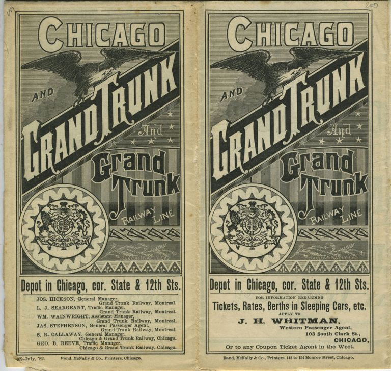 1882 Chicago and Grand Trunk And Grand Trunk Railway Line Time Table & Advertising Brochure.