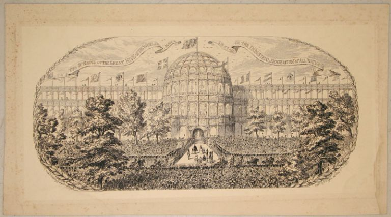 """Proof plate, """"The Opening of the Great Hive of the World May 1 1851 or the Industrial Exhibition of All Nations"""", illustration from """"1851 or, The adventures of Mr. and Mrs. Sandboys and family: who came up to London to 'enjoy themselves,' and to see the Great Exhibition"""" George Cruikshank."""